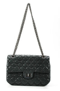 Chanel Womens Quilted Leather Turnlock Reissue Flap Bag Handbag Black LL19LL