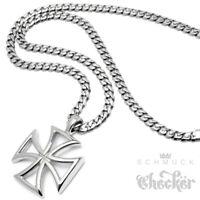 Eisernes Kreuz Edelstahl Halskette Iron Cross Anhänger Bikerschmuck silber klein