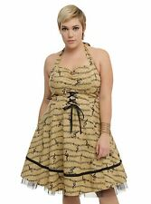 NWT Hot Topic Music Note Sheet Music Swing Dress Size 28 4x Plus Tan Tulle