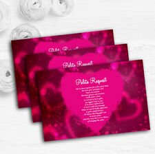 Hot Pink Hearts Personalised Wedding Gift Cash Request Money Poem Cards