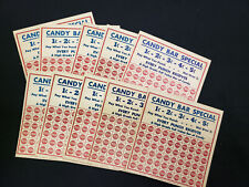 Vintage GAMBLING PUNCH OUT CARD Advertising CANDY BAR SPECIAL W. H. Brady x10 OP