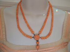 Antique Victorian Angel Skin Graduated Coral Beads Necklace Hand Carved Rose Sil