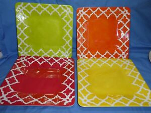 """4x Laurie Gates Melamine 10"""" Square Dinner Plates - Lot Red Green Yellow Orange"""
