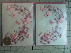 Papyrus Jewels Glittered Butterfly And Flowers Greeting Card Blank Inside 2 ct