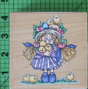 Spring Chicks KW002 rubber stamp by Stampendous Easter Girl with Baby Chicks