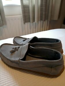 Ladies 8 Flat Moccasins Suede Driving Shoes ,42 blue/grey