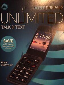 Unlocked New Alcatel SMARTFLIP AT&T 4G LTE,WiFi,radio,open Bx To Unlock It.