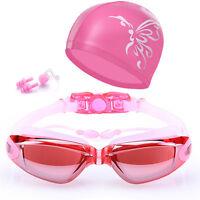 Women Swimming Goggles Anti-Fog Swim Glasses UV Protection with Nose Clip Cap US