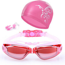 Women Swimming Goggles Anti-Fog Swim Glasses Uv Protection with Nose Clip Cap Us