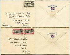 ASCENSION 2 COVERS to GB 1949 UNION CASTLE LINE ENVELOPES MARITIME