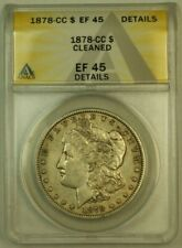 1878-CC Morgan Silver Dollar S$1 ANACS EF-45 (XF) Details Cleaned