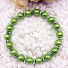 DIY Wholesale Fashion Jewelry 8mm green water Pearl Beads Stretch  Bracelet