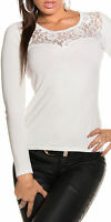 pull court blanc haut broderie femme sexy manches dentelle
