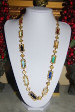 VINTAGE VICTORIAN STYLE SAUTOIR GOLD TONED METAL AND MULTICOLORED GLASS NECKLACE
