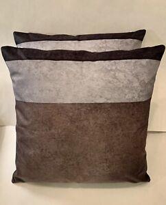 "New 2pc Set Throw Pillows 18""x18"" Decorative Throw Pillows Set Black/Grey/Brown"