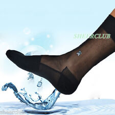 SHEERCLUB BLACK SHEER RETRO MEN GENTLEMEN TNT DRESS SOCKS HOSE HOSIERY 411641