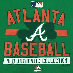NWOT Atlanta Braves MLB MAGESTIC T-Shirt Shamrock St Patrick's Irish Green M