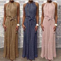 New Hot Women Halterneck Spotted Belt Evening Party Cocktail Long Maxi Sun Dress