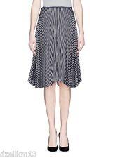 NWT $455 Theory Zeyn W Satin Striped Pleated A-line Skirt Size L