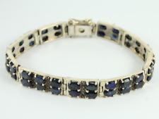 Sapphire & Marcasite Bracelet Sterling Silver Ladies Stunning 925 31.3g Gg76