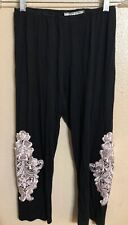 L&B Leggings Black Cream/Tan Crochet Lace Embellished One Size Crop Capri