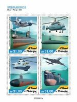 Sao Tome & Principe Submarines Stamps 2020 MNH Ships Aviation Helicopters 4v M/S