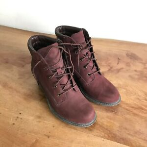 Timberland Women's Amston Wedge Boot Burgundy Suede Lace Up Size 6.5 US 4.5 UK