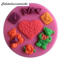 I Love You Bear Heart Silicone Cake Topper Mould Craft Fondant Icing Fimo