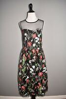 ECI NEW YORK NEW $138 Embroidered Floral Mesh Fit & Flare Dress Size 8