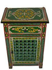 Moroccan Dresser Night Stand Table Wood Moorish Hand Painted Handmade Green