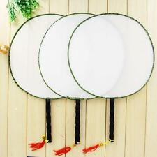 1PCS Plain Blank Wood Handle Chinese Traditional Palace Round Hand Held Fan DIY