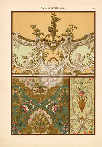 VINTAGE Ornate Floral Ceiling and Wall Paintings. Antique Art Print #A732