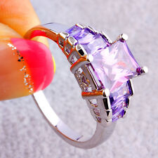 Christmas Delicate Emerald Cut Amethyst Gemstones Silver Ring For Women Gift