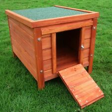 Wooden Small Pet House Outdoor Hutch Weatherproof Roof Opens Easy Clean Ramp