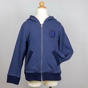 Dior Boys Navy Blue Zip Up Hoodie Pockets Knit Cuffs Logo Patch Size 10 EUC