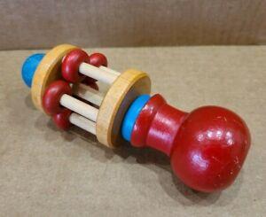 Vintage Montgomery Schoolhouse Vermont Handmade Hardwood Spinning Baby Rattle
