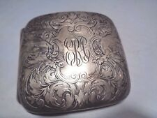 Antique Sterling Silver Winged Lion Cigarette Etched Engraved Gargoyle Case Box