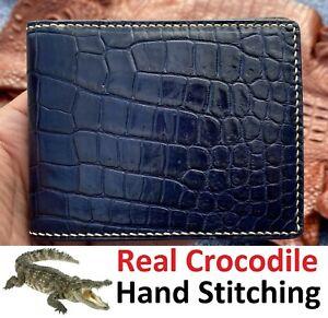 Men Leather Wallet Bifold Genuine Alligator Crocodile Skin Exotic Animal Blue