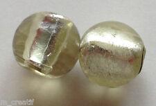perles lampwork 12mm 6pc verre murano ronde beige vert feuille d/'argent //3