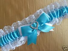 TIFFANY BLUE & WHITE WEDDING BRIDAL BRIDE PLAIN GARTER SATIN LACE HEART DIAMANTE