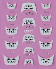 Nail Stickers French Tips White Rhinestone  Nail Art - Cats Face - XF-873 -  UK