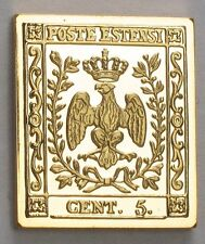 Modena (of Italy) 1852 Stamp 'Modena Coat of Arms' 24K Gold on .925 Silver Bar