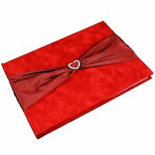 Guest Book with Heart Brooch Burgundy (k121)