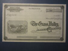 New listing Old 1880's - Grass Valley Water Co. - Stock Certificate - Nevada County Ca.