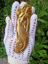 Golden Mermaid w Seahorse & Starfish Pocket Knife Fantasy Sea Life + Pendant