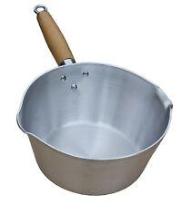Small Heavy Duty Aluminium Milk Cooking Sauce Pan Pot Wooden Handle (UK Made)