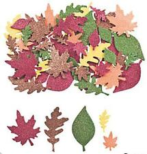 "100 Glitter Leaf Foam Adhesive Shapes 1"" - 2"" Leaves Fall Red Green Yellow Brown"