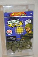 Military Defense PLAYSET 50 PC Plastic Army Soldiers Green Different Poses 5+
