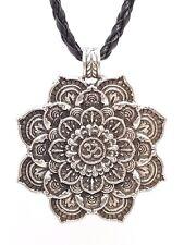 Mandala Collar om colgante plata tibetana curación de Buda Flor De Loto Buda