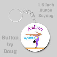 Gymnastics Keyring Personalized with Name 1.5 Inch Button Charm